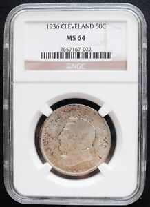 1936 CLEVELAND 50 CENTS  NGC MS 64 CHOICE SILVER COIN ./