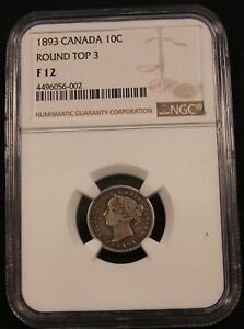 Click now to see the BUY IT NOW Price! 1893 CANADA SILVER 10 CENTS  ROUND TOP 3  NGC F12. STRONG DATE NICE TONING
