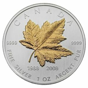 Click now to see the BUY IT NOW Price! 2008 CANADA 20TH ANNIVERSARY GOLD PLATED 1 OZ .9999 SILVER MAPLE LEAF COA & BOX