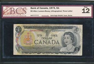 Click now to see the BUY IT NOW Price! 1973 SOLID NUMBER RADAR 7777777 SEVEN SEVENS  BCS CANADA $1 DOLLAR BANK NOTE