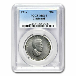 1936 CINCINNATI HALF DOLLAR COMMEM MS 64 PCGS   SKU80424