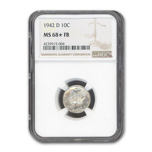 1942 D MERCURY DIME MS 68  NGC  FB    SKU187881