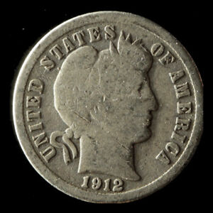 1912 P BARBER 90  SILVER DIME SHIPS FREE. BUY 5 FOR $2 OFF