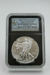 2013 W ENHANCED FINISH SILVER EAGLE NGC SP69 EARLY RELEASES WEST POINT EAGLE SET