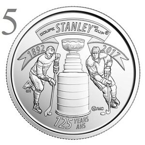 CANADA 2017 NEW 5X25 CENTS 125TH ANNIVERSARY OF THE STANLEY CUP  UNC FROM ROLL