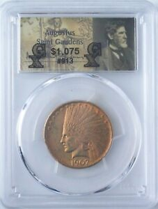 1907 INDIAN HEAD GOLD EAGLE   $10   PCGS MS61   NO MOTTO