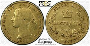 Click now to see the BUY IT NOW Price! AUSTRALIA 1858 RR HALF SOVEREIGN PCGS VG GRADE LOT 0511