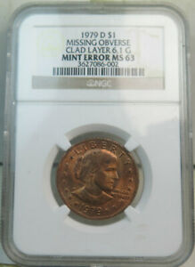 1979 D SUSAN B. ANTHONY DOLLAR NGC MS63  MISSING CLAD LAYER  BR