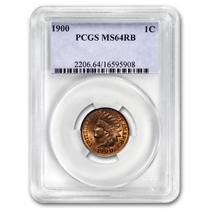 1900 INDIAN HEAD CENT MS 64 PCGS  RED/BROWN    SKU188792