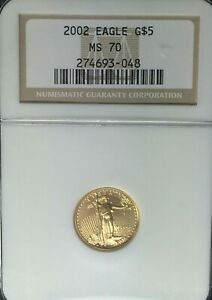 2002 GOLD $5 1/10 OZ GOLD AMERICAN EAGLE BRILLIANT UNCIRCULATED NGC MS 70