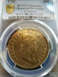 1795 DRAPED BUST 10.00 EAGLE GOLD COIN 13 LEAVES PCGS GRADED XF DETAILS