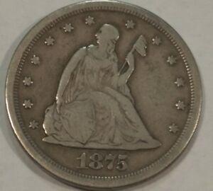 1875S 20C FINE SILVER TWENTY CENT PIECE  LOT1  FS302 MISPLACED DATE REPUNCHED MM