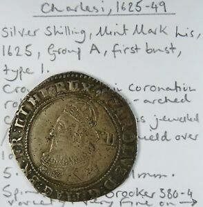 CHARLES I 1625 49 SHILLING MINT MARK LIS 1625 GROUP A FIRST BUST TYPE 1