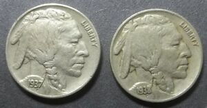 2 BUFFALO NICKELS  LOT BNX7