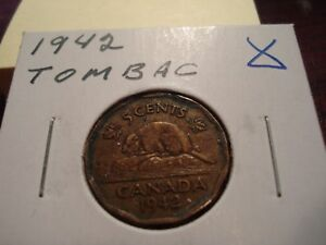 TOMBAC   1942   CANADA   5 CENT COIN   CANADIAN NICKEL   CIRCULATED