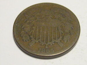1865 TWO CENT PIECE ERROR 160 DEGREE ROTATED DIE
