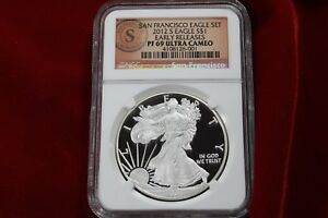 2012 S SAN FRANCISCO SILVER  EAGLE PROOF NGC PF 69 ULTRA CAMEO EARLY RELEASES