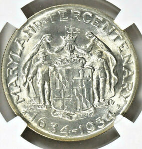 1934 MARYLAND COMMEMORATIVE SILVER HALF DOLLAR   NGC MS 64   MINT STATE 64