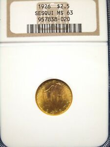 1926 $2.5 SESQUICENTENNIAL COMMEMORATIVE GOLD $2.50 NGC MS63