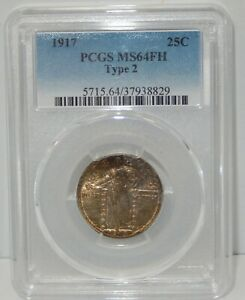 1917 TYPE 2 STANDING LIBERTY QUARTER   PCGS CERTIFIED MS 64 FH