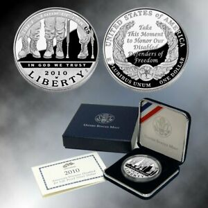2010 W DISABLED VETERANS COMMEMORATIVE SILVER DOLLAR PROOF