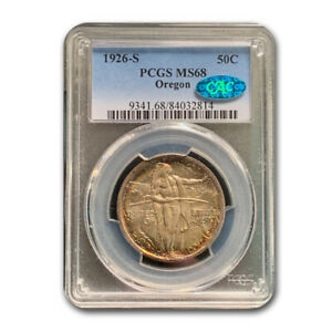 Click now to see the BUY IT NOW Price! 1926 S OREGON TRAIL COMMEMORATIVE HALF DOLLAR MS 68 PCGS CAC   SKU191561