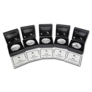 Click now to see the BUY IT NOW Price! 2012 P 5 COIN 5 OZ SILVER BURNISHED ATB SET  W/BOX & COA    SKU78734