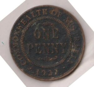 H146 31  1927 AU ONE PENNY COIN  AF