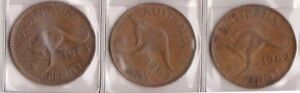 H145 8  1962 64 AU MIX OF 3 ONE PENNY COINS  H