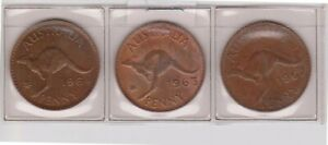 H145 9  1962 64 AU MIX OF 3 ONE PENNY COIN  I