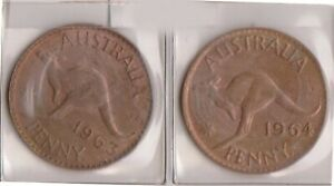 H144 12  1962 64 AU ONE PENNY COINS  L