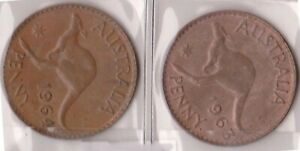 H144 6  1963 64 AU ONE PENNY COINS  F