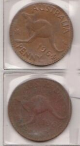 H144 10  1962 64 AU ONE PENNY COINS  J