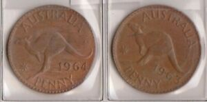 H144 13  1963 64 AU ONE PENNY COINS  M