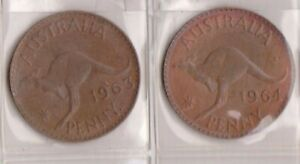 H144 1  1963 64 AU ONE PENNY COINS  A