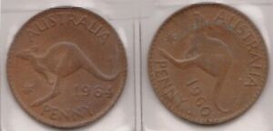 H144 30  1960 64 AU ONE PENNY COINS  AE