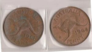 H144 22  1961 64 AU ONE PENNY COINS  V