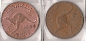 H144 26  1961 64 AU ONE PENNY COINS  Z