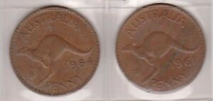 H144 8  1961 64 AU ONE PENNY COINS  H