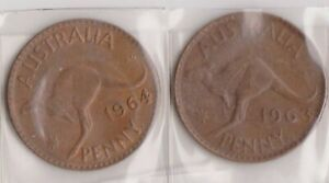 H144 9  1963 64 AU ONE PENNY COINS  I