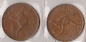 H144 7  1960 64 AU ONE PENNY COINS  G