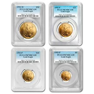 Click now to see the BUY IT NOW Price! 1992 4 COIN PROOF GOLD AMERICAN EAGLE SET PR 70 PCGS   SKU131948