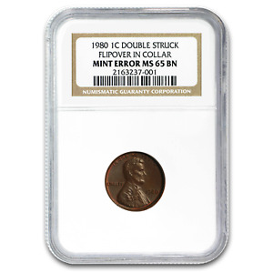 1980 LINCOLN CENT DOUBLE STRUCK MINT ERROR MS 65 NGC  BN    SKU192952