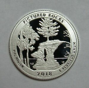 2018 S SILVER PROOF PICTURED ROCKS AMERICA THE BEAUTIFUL QUARTER