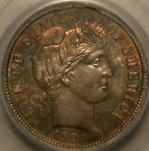 1907 S BARBER DIME PCGS MS 64  COLORFUL TONING OLD HOLDER