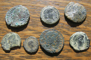 Click now to see the BUY IT NOW Price! SEVEN FOURTH CENTURY ROMAN BRONZE COINS WITH SAND PATINAS