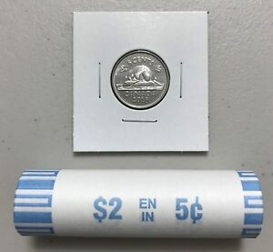CANADA 2018 NEW 5 CENTS ORIGINAL BEAVER CIRCULATION COIN  UNC FROM MINT ROLL