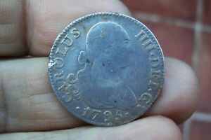 A66  SILVER 2 REALES CHARLES IV 1795 MADRID MINT SPANISH COLONIAL