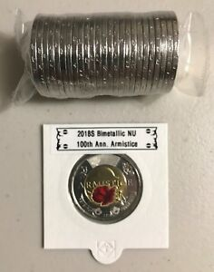 CANADA 2018 NEW $2 TOONIE 100TH ANN. ARMISTICE 1918 COLOR  UNC FROM MINT ROLL