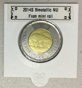 CANADA 2014 NEW 2 DOLLAR TOONIES  BU DIRECTLY FROM MINT ROLL